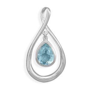 Pear Shape Slide with Blue Topaz Drop
