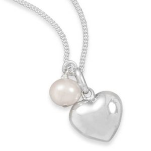 """16"""" Multicharm Heart & Cultured Freshwater Pearl Necklace"""