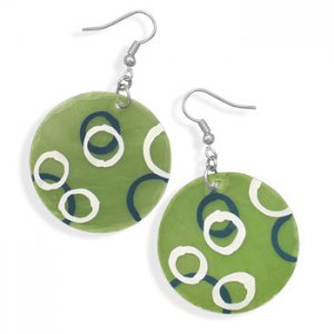 Green Shell Earrings With Hand Painted Circles