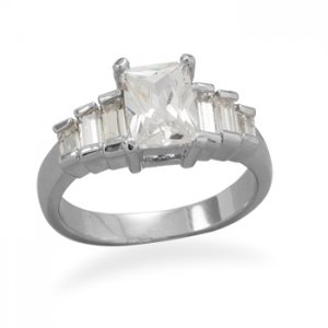 Rectangle CZ Ring With Baguette Accents