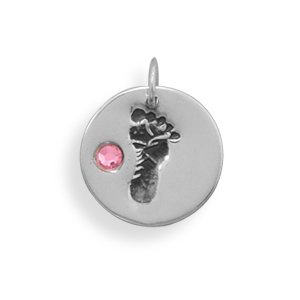 Silver Footprint and Pink Crystal Charm