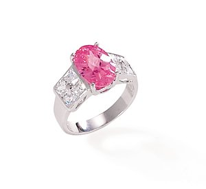 Sterling Silver Ring with Pink and Clear CZs