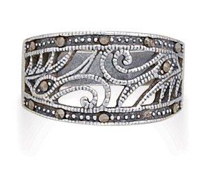 Swirl Design Marcasite Ring