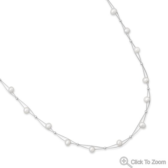 """16"""" Double Strand Cultured Freshwater Pearl Necklace"""