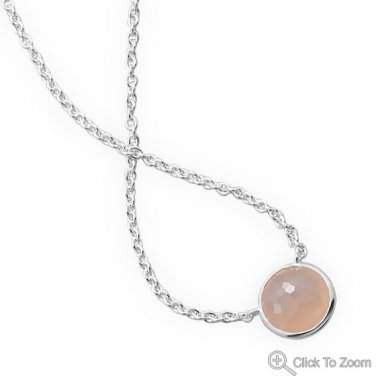 Freeform Faceted Pink Chalcedony Necklace
