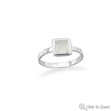 Small Square Freeform Faceted Sea Green Chalcedony Stackable Ring