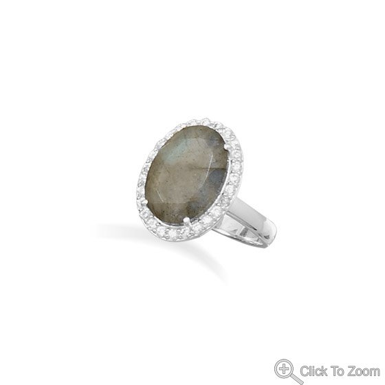 Elegant Labradorite with CZ Edge Ring