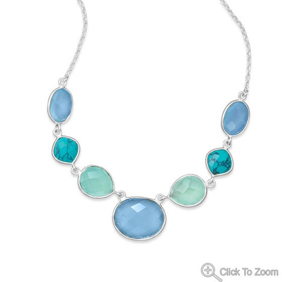 Turquoise and Chalcedony Necklace