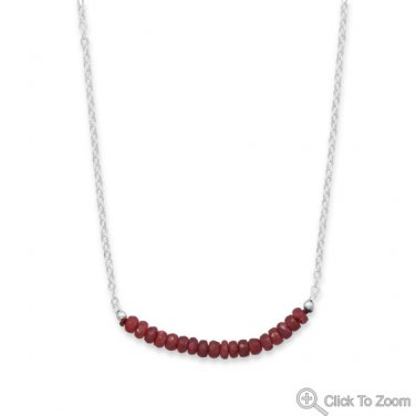 Faceted Ruby Bead Necklace - July Birthstone