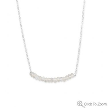 Faceted Rainbow Moonstone Bead Necklace - October Birthstone