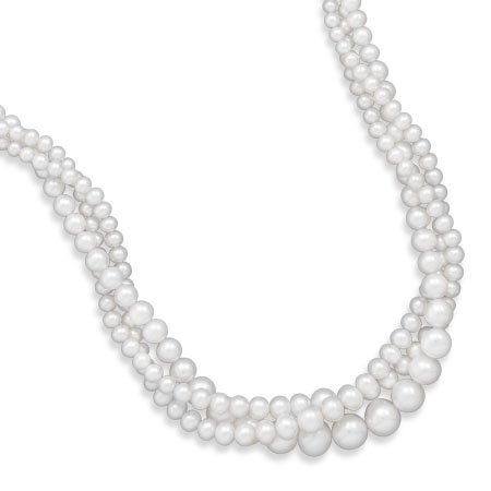 "17"" Triple Strand Graduated Freshwater Pearl Necklace"