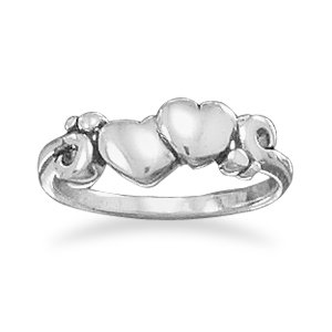 Ring With Two Hearts and Swirl Design