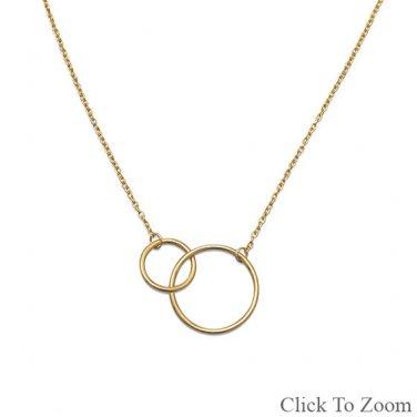 14 Karat Gold Plated Circle Link Necklace