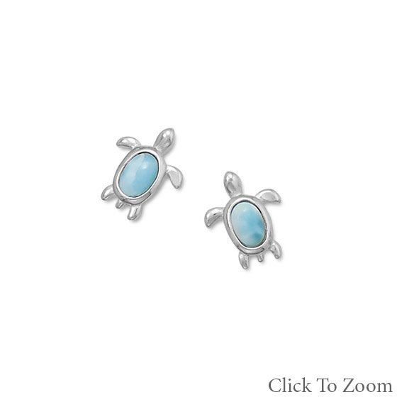Larimar Turtle Stud Earrings