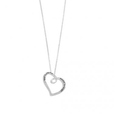 "Rhodium Plated ""You Hold My Heart Forever"" Necklace"