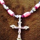 "Hot Pink, magenta & silver ""cross"" necklace with magnetic hematite"