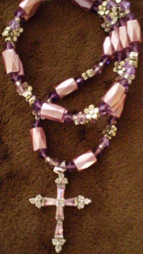 "Pink n' purple ""cross"" necklace genuine SWAROVSKI CRYSTALS & magnetic hematite 30 day warranty"