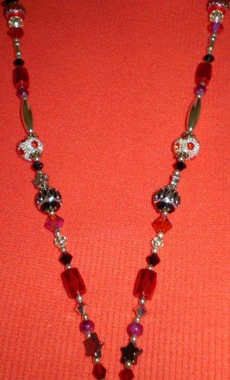 Red, Black & Silver laynard / badge holder completly handbeaded excellent quality