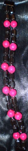 Hot Pink glass beads with black hematite beads magnetic clasp bracelet