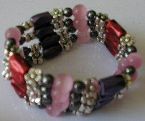 purple, pink, red, black & silver wrap with cats eye