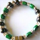 green, silver & black double strand magnetic hematite bracelet