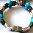 double strand magnetic hematite bracelet black, silver & turquoise