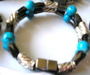 double strand magnetic hematite bracelet black, silver & turquoise