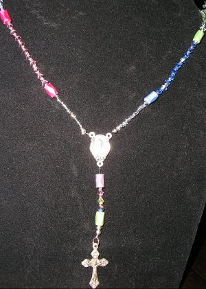 """Rosary """"choker"""" style necklace with Swarovski Crystals & magnetic hematite"""