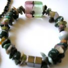 Women's double strand semi precious stone green bracelet