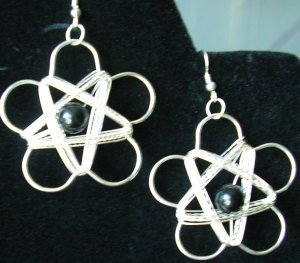 """Wire wrapped silver """"flower"""" earrings avail with sterling silver hooks"""