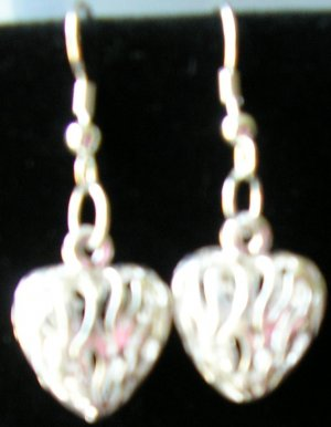 silver heart earrings avail with sterling silver hooks