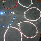 glass seed beads & silver assorted adjustable bracelets