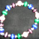 stretchy pink, green, blue & purple cats eye beaded bracelet