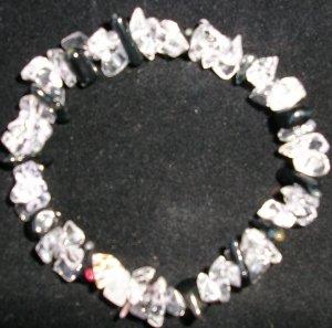 black & clear stretchy bracelet