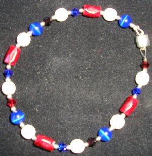 Red white & blue 4th of July bracelet Swarovski crystals, magnetic hematite & cats eye