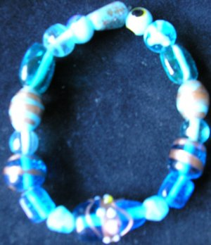 stretchy assorted glass beaded bracelet