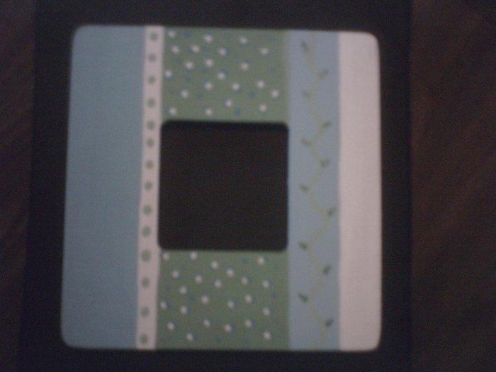 Blue, White, and green Picture Frame.