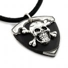 BLACK LEATHER SKULL PENDANT
