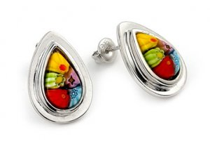 MULTI COLOR MILLEFIORI DROP EARRINGS