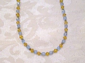 Blue and Yellow Chrystal Necklace