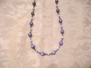 Purple and White Beaded Necklace