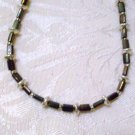 Metallic Dark Brown Beaded Necklace