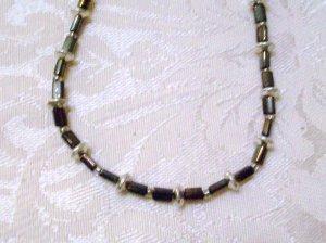 Metallic Dark Brown Beaded Necklace
