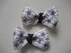 White with black flowers