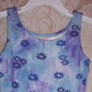 Girls Floral Cotton Blend Tank Leotard Size XS