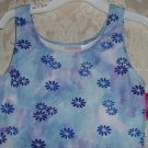 Girls Floral Cotton Blend Tank Leotard Size L