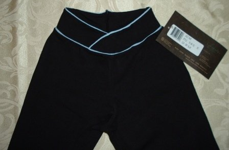 Girls Black and Sky Blue Boot Cut Jazz Pant Size S