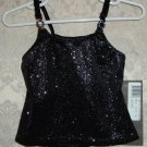 Girls Black Sparkle Camisole Top Size S