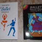 Fun with Ballet Stencils and Stained Glass Coloring Book - Two Book Set