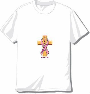 Jesus 3:16 Cross and Pink Ribbon T-shirt Available in 3 colors